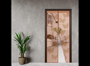 Дверная антимоскитная шторка Коричневый ажур Бабочки