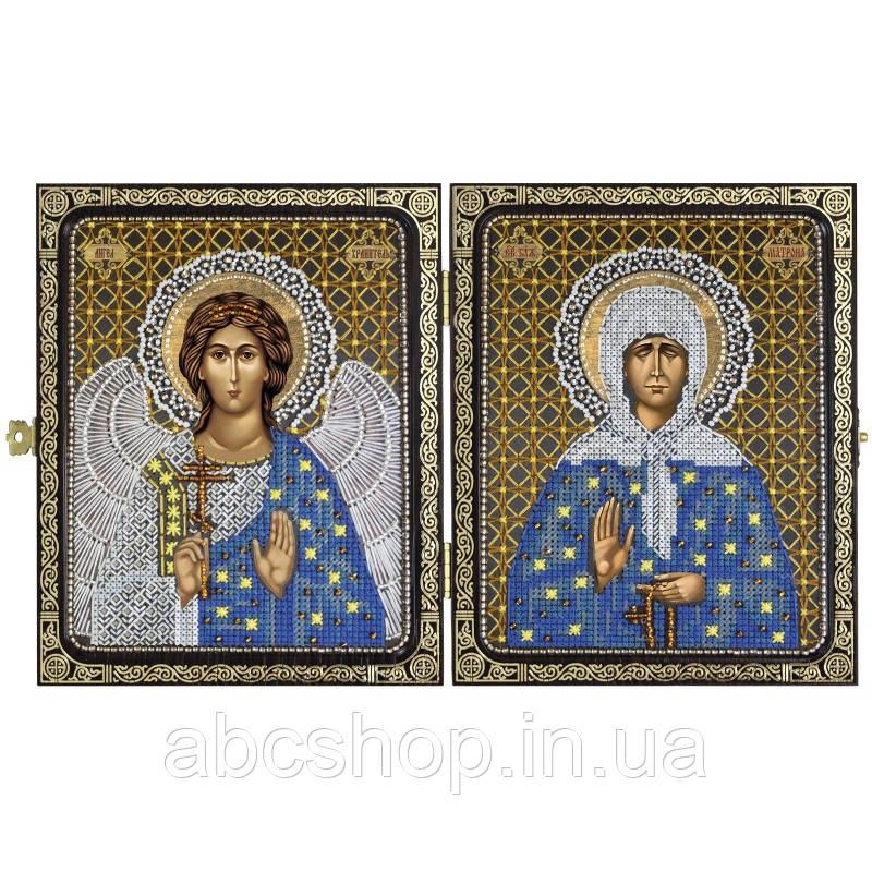 """Набор для вышивки иконы в рамке-складне """"Св. Прав. старица Матрона Московская и Ангел Хранитель"""""""