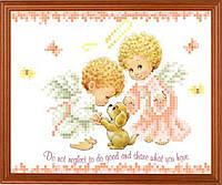 """Схема для вышивки на атласе ангелочки """"Ангелочки и щеночек"""""""