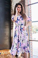 Платье летнее с цветочным принтом, арт.199, цвет- светло розовый (№03)