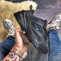 Мужские кроссовки Nike M2K Tekno Full Black, Мужские Найк М2К Текно Черные Кожаные