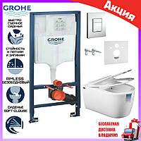 Комплект унитаз Idevit Alfa Rimless сиденьем slow-closing + инсталляция Grohe Rapid SL 38772001