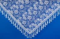 Свадебный бежевый платок с камнями №2