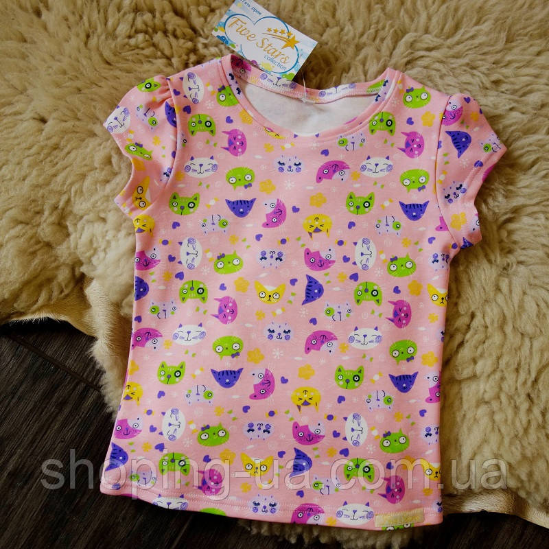 Детская футболка розовая с котиками Five Stars KD0316-110p