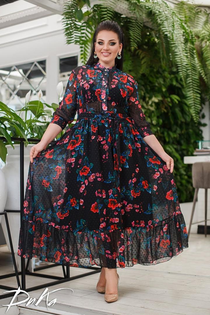 Женское нарядное платье сарафан летнее шифон+подкладка батал размер: 50-52, 54-56