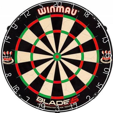 Дартс мишень профессиональная из сизаля Blade5 Winmau Англия + 6 дротиков, фото 2