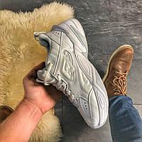 Мужские кроссовки Nike M2K Tekno Triple White, Мужские Найк М2К Текно Кроссовки белые Кожаные