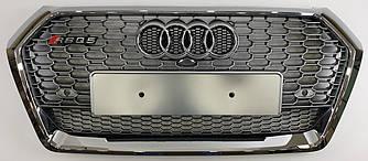Решетка радиатора Audi Q5 FY (2017+) стиль RSQ5 (хром + серебро)