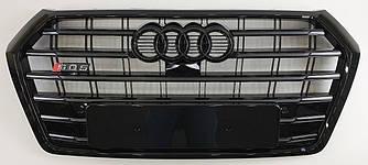 Решетка радиатора Audi Q5 FY (2017+) стиль SQ5 (черный глянц)