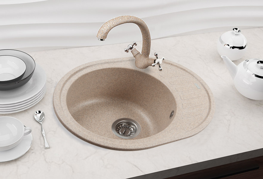 Каменная мойка Ventolux MONICA (BROWN SAND) 620x500x200