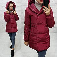 Куртка одеяло короткая демисезонная арт. 1005 вишня / вишневая / темно красного увета 44