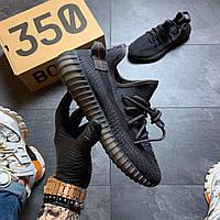Мужские кроссовки Adidas Yeezy 350 v2 Triple Black, Мужские кроссовки Адидас Изи Буст В2 черные