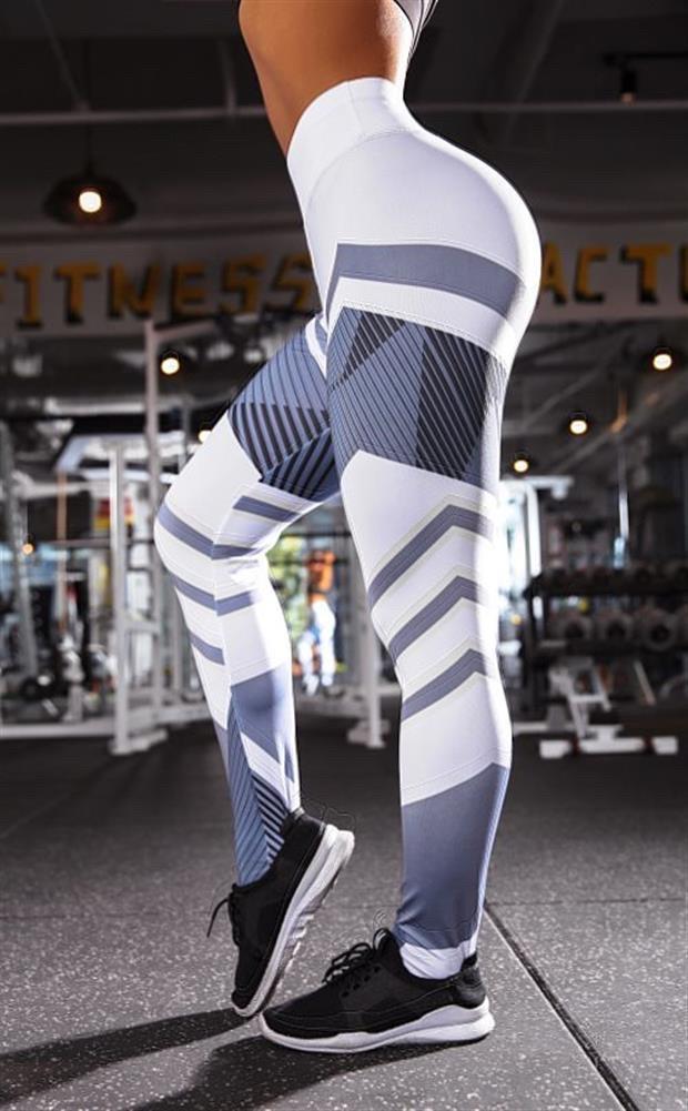 Женские стильные лосины/леггинсы для занятий спортом/фитнесом «Fitness lovers» line (белый)