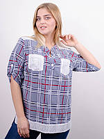 Мирей. Модная рубашка плюс сайз. Синий., фото 1