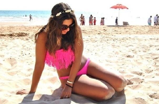 Пляжный раздельный купальник с бахромой и большим пуш-апом Розовый