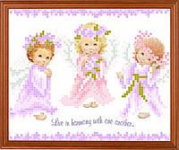 """Схема для вышивки на атласе ангелочки """"Ангелочки"""""""