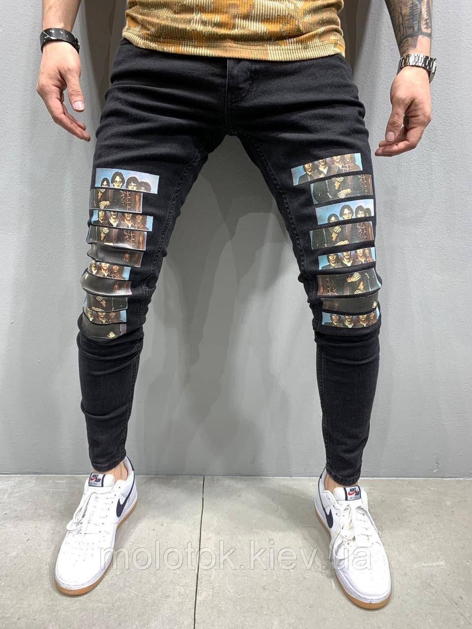 Мужские джинсы slim рваные демисезонные черные Люкс