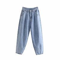 Джинсы бананы слоучи с защипами в стиле Zara. Mom Jeans с высокой талией, размер S (голубые)