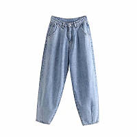 Джинсы бананы слоучи с защипами в стиле Zara. Mom Jeans с высокой талией, размер XS (голубые)