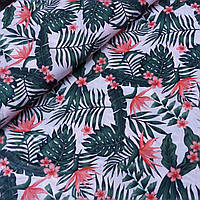 Ткань бязь с листьями и тропическими цветами на светло-розовом, ш. 160 см