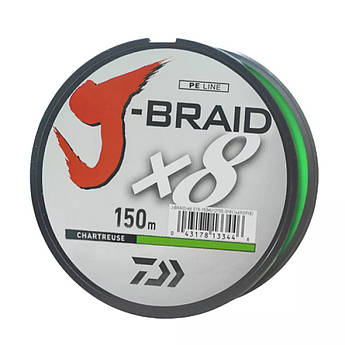 Шнур Daiwa J-Braid X8 0,10mm 150m chartreuse