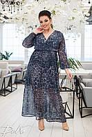 Женское нарядное платье сарафан в пол ткань шифон принт батал размер: 50-52, 54-56, фото 1