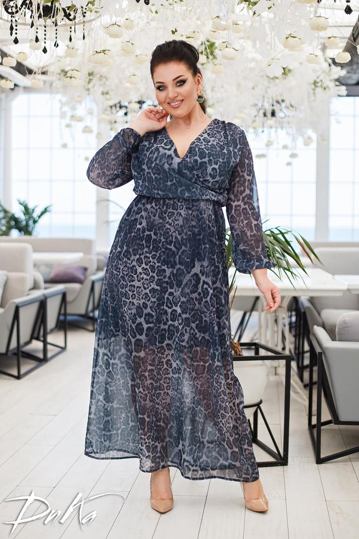 Женское нарядное платье сарафан в пол ткань шифон принт батал размер: 50-52, 54-56
