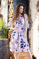 Платье летнее с рушем в цветочный принт, арт.200, цвет- светло розовый (№03)