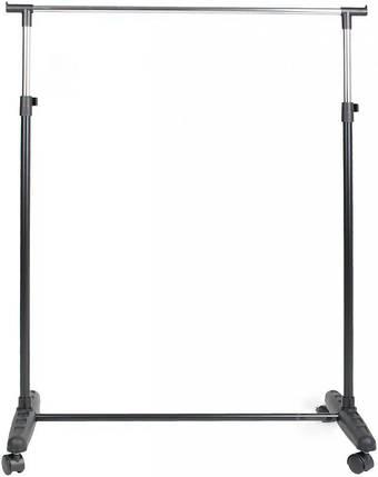 Одинарная стойка для одежды черного цвета на колесиках., фото 2