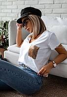 Жіноча класична футболка з турецької двухнити з кишенею пайетка(42-46), фото 1