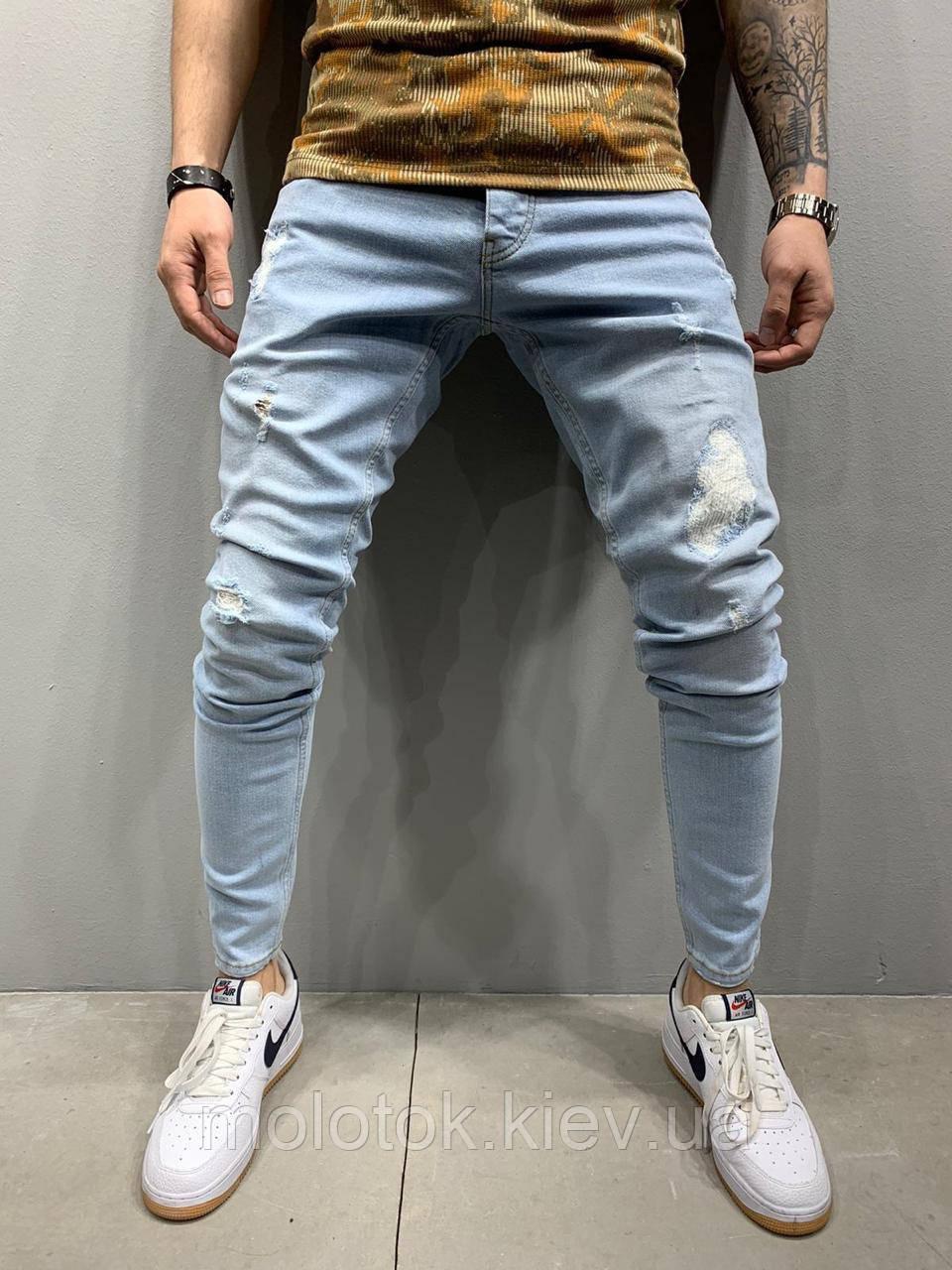 Мужские джинсы slim рваные демисезонные голубые Люкс