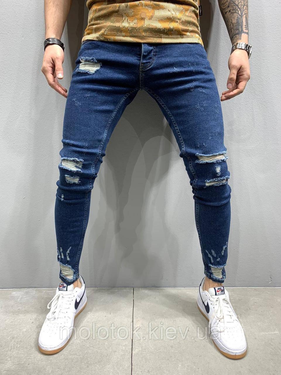 Мужские джинсы slim рваные демисезонные синие Люкс