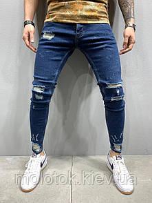 Чоловічі джинси slim рвані чоботи сині Люкс