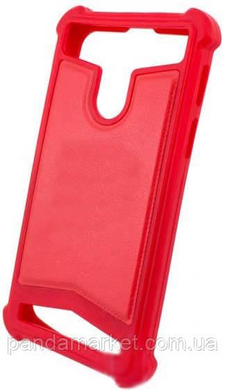 Универсальный Чехол накладка силикон-кожа 3.5-4.0 Красный