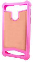Универсальный Чехол накладка силикон-кожа 4.5-5.0'' Розовый