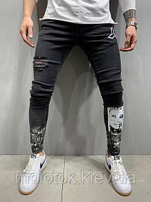 Чоловічі джинси slim рвані демісезонні чорні Люкс