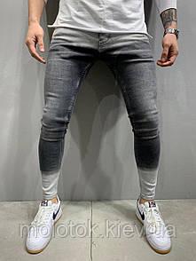 Чоловічі джинси slim рвані демісезонні сірі з білим Люкс