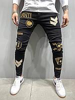 Мужские джинсы slim с нашивками демисезонные черные Люкс