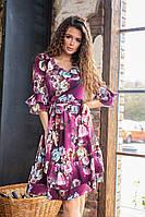 Платье летнее с рушем в цветочный принт, арт.200, цвет- фиолетовый (№ 15)