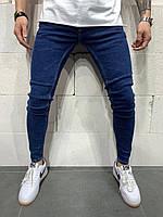 Мужские джинсы slim демисезонные синие Люкс