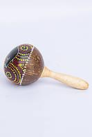 Маракас натуральный из кокоса, расписной 30 см
