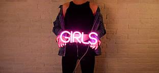 Неоновая вывеска GIRLS 41 х 15 см
