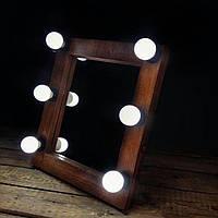 Гримерное зеркало визажиста для макияжа с подсветкой,лампами лед, LED Коричневый, Нет