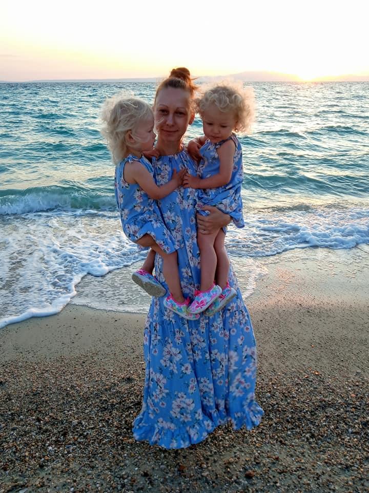 Комплект Family Look льняные сарафаны для мамы  и двух дочек