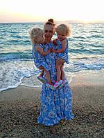 Комплект Family Look льняные сарафаны для мамы  и двух дочек, фото 1