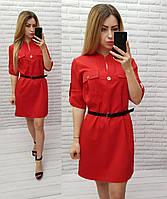 Платье-рубашка с ремешком, софт, арт. 198, цвет - красный