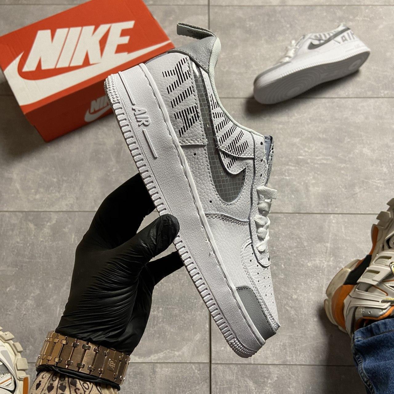 Кроссовки белые низкие Nike Air Force Найк Аир Форс Кожа Рефлектив 🔥 Найк мужские кроссовки 🔥