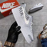 Кроссовки белые низкие Nike Air Force Найк Аир Форс Кожа Рефлектив 🔥 Найк мужские кроссовки 🔥, фото 2