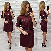 Платье-рубашка с ремешком, софт, арт. 198, цвет - бордовый / марсала / вишня