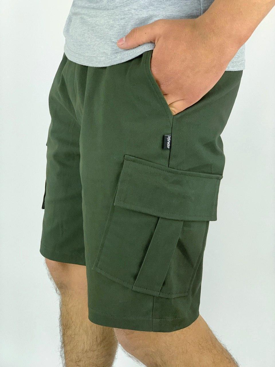 Шорты карго мужские Miami x khaki   Бриджи мужские с карманами трикотажные летние ТОП качества